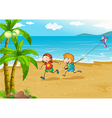 kids playing at beach with their kite vector image