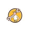 Mechanic Monkey Wrench Walking Circle Cartoon vector image vector image
