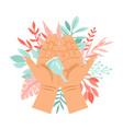 menstrual cup in hands vector image vector image