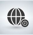 minimal globe icon with clock in circle vector image vector image