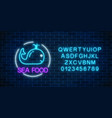 neon glowing sign of sea food with blue whale in vector image vector image