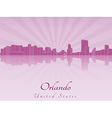 Orlando skyline in purple radiant orchid vector image vector image