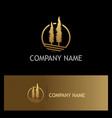 pine tree gold logo vector image vector image
