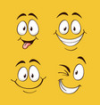 positive emotions happy faces on yellow vector image