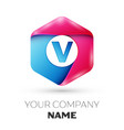 realistic letter v in colorful hexagonal vector image vector image