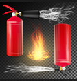 red fire extinguisher fire flame sign and vector image vector image