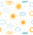 seamless pattern with hand drawn clouds stars vector image vector image