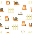 seamless pattern with snail and garden elements vector image