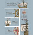 set banners on theme sea adventure vector image vector image