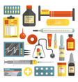 set of hospital and medical icons in flat vector image vector image
