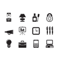 Silhouette Business and office icons vector image