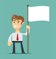 smiling businessman holding flagpole with flag vector image vector image