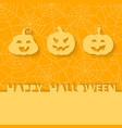 three orange pumpkins on background web vector image vector image