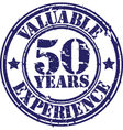 Valuable 50 years of experience rubber stamp vect vector image vector image