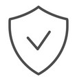 verified emblem line icon shield with check mark vector image vector image