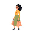 young caucasian woman or brunette girl in skirt vector image vector image