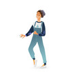 young woman dancing in overalls isolated vector image