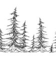 seamless border with pencil sketch trees element vector image
