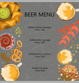 menu template with beer vector image