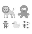 an unrealistic monochrome animal icons in set vector image vector image