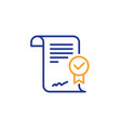 approved agreement line icon verified document vector image