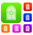 arched window set color collection vector image vector image