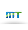blue green mt m t alphabet letter logo vector image vector image