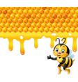 cartoon bee with honeycomb and honey dripping vector image vector image