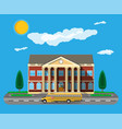 classical school building and school bus vector image vector image