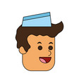 Color image cartoon face male food seller with cap vector image