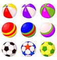 colorful cartoon rubber ball set vector image vector image