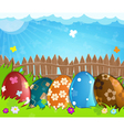 Colorful Easter eggs near a wooden fence in the vector image vector image