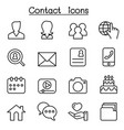 contact icons set for social network in thin line vector image