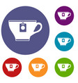 cup with teabag icons set vector image vector image