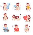 cute funny cow characters set cheerful farm vector image vector image