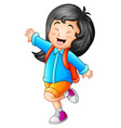 cute little girl go to school vector image