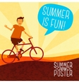 Cute summer poster - bike riding with speech vector image vector image