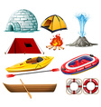 Different objects for camping and hiking vector image vector image