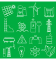 electricity and enegry symbol outline icons set vector image