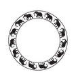 elephants circle ornament-03 vector image