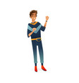 flat young man dancing isolated vector image vector image