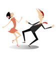 funny dancing young couple isolated vector image vector image