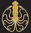 giant squid badge logo or emblem design vector image vector image