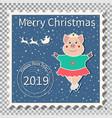 gilt skater christmas postage stamp vector image vector image