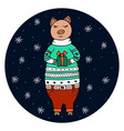 hand-drawn pig in a christmas sweater vector image vector image