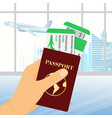 hand holding passport with vector image vector image