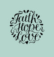 hand lettering with bible verse faith hope and vector image vector image