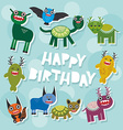 Happy birthday Funny monsters party card design vector image vector image