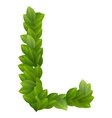 Letter L of green leaves alphabet vector image vector image