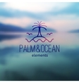 logo palm and waves vector image